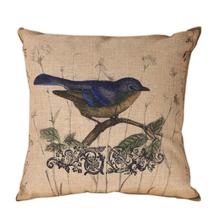 Retro Bird Linen Sofa Cushion Cover