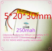 ( 10 шт / лота ) полимер литиево-ионная аккумулятор 3,7 v, 502030 052030 согласно требованиям клиента CE FCC ROHS сертификацией обращению