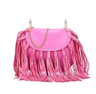 2016 fashion women snake leather tassle handbag gold chain Shoulder bags small hot pink messenger bag(China (Mainland))