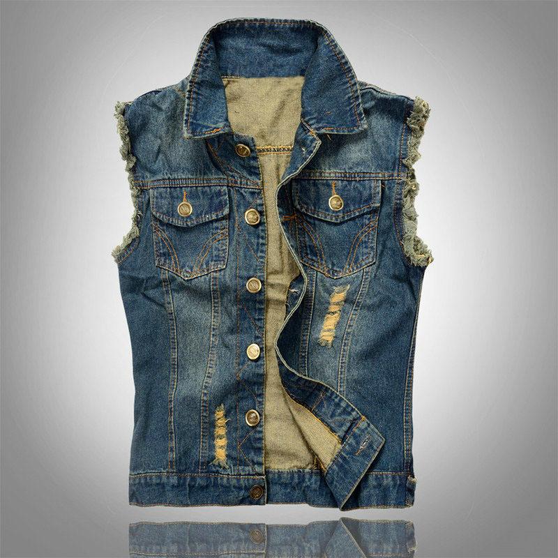 Korean Slim casual fashion denim vest men single-breasted 2015 spring summer new(China (Mainland))