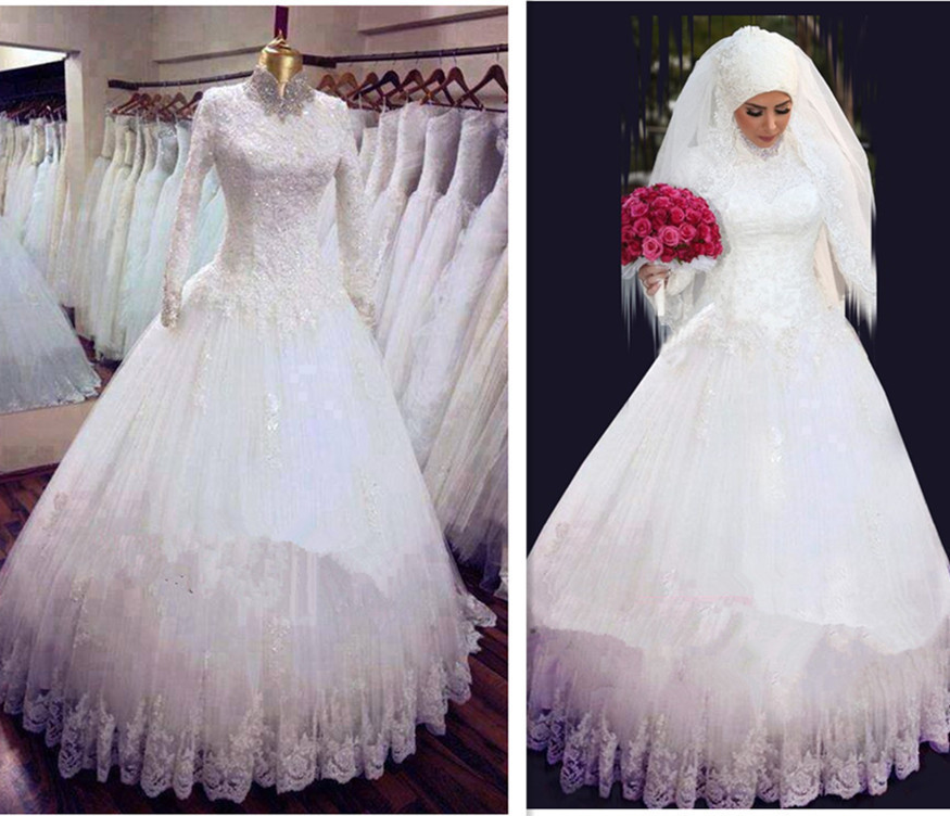 2015 High Neck white lace Arabic Hijab Muslim Wedding Dresses with Long Sleeves Appliques Bridal Gown vestido de noiva(China (Mainland))