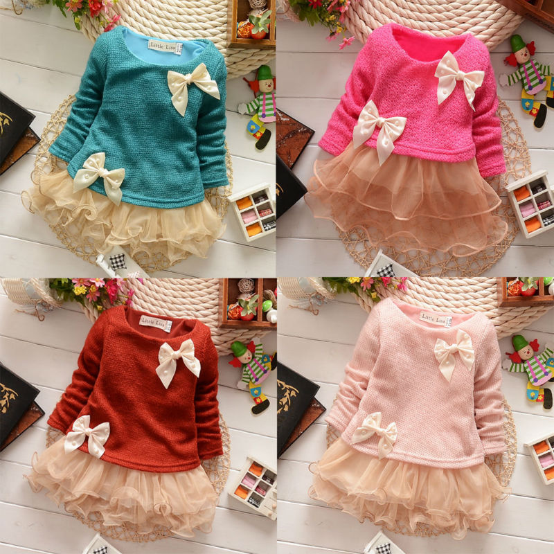 Hot 2015 New Casual Girls Top Kid Lace Bow Princess Long Sleeve Dress 3M-2Y Clothes(China (Mainland))