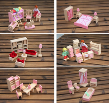 High quality 6 styles Funny Kids Pretend Role Wooden Toy Dollhouse Nursery Room dining room living romm Miniature Furniture(China (Mainland))