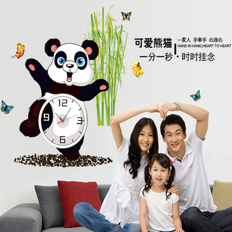 Creative Kids Room Panda Wall Clock Stickers Children Wall Stickers Home Decor Baby Cartoon Animal adesivo de parede infantile(China (Mainland))