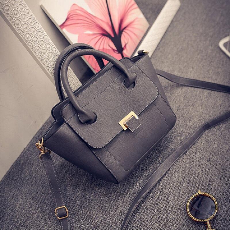 2015 Autumn New Women Shoulder Bag Leather Fashion Casual Handbag Girls Solid Noble Trapeze Women Luxury Messenger Bag<br><br>Aliexpress