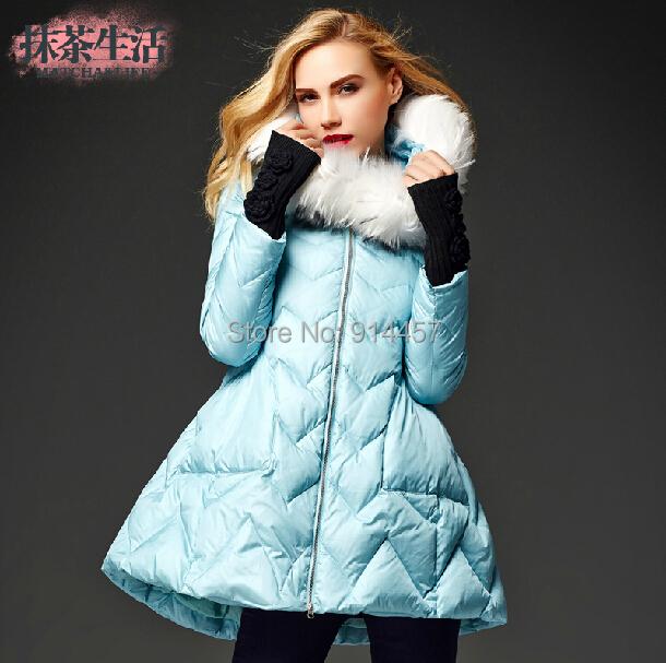 EMS 2014 New Women Ladies Winter Luxury Big Fur Collar Thicken Duck Jacket Coat Medium-Long Outerwear - fashion store 123