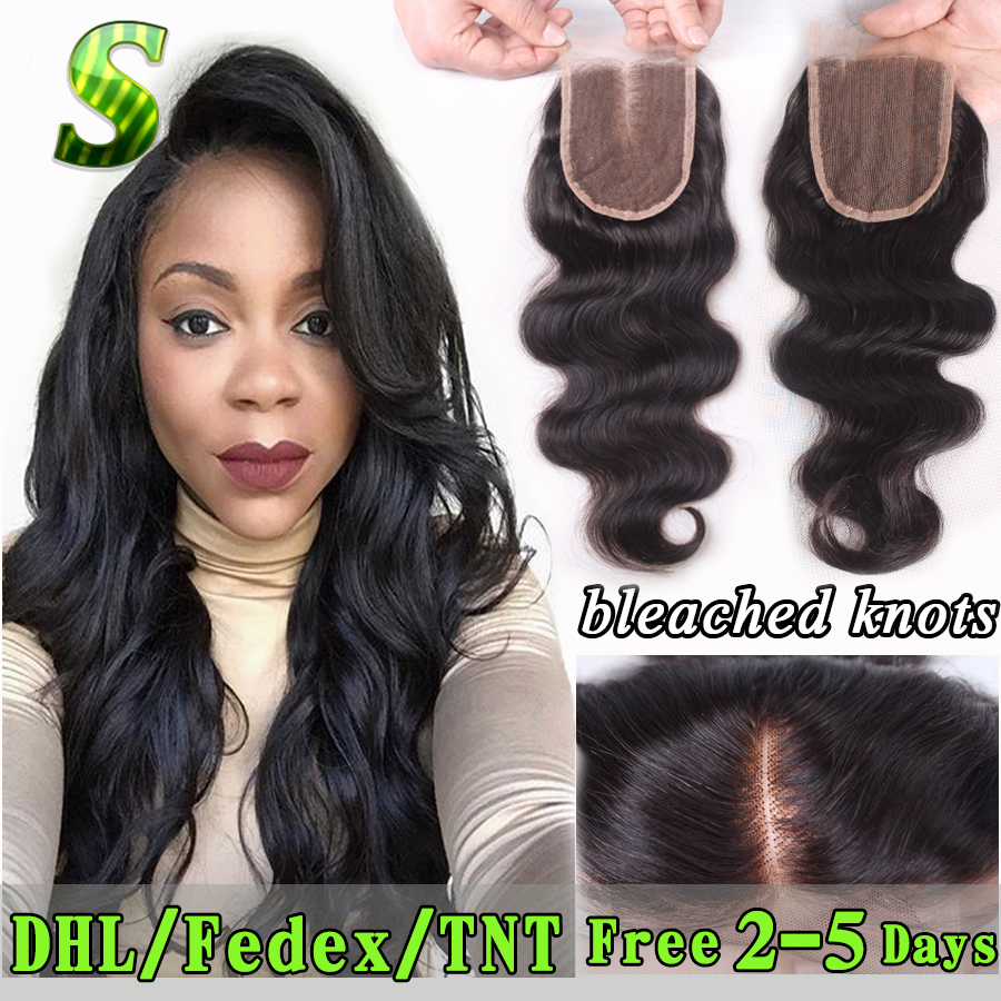 Brazilian Body Wave Closure 3.5x4 Human Hair Lace Front Closure Free Middle 3 Part Lace Closure Bleached Knots Lace Top Closure(China (Mainland))