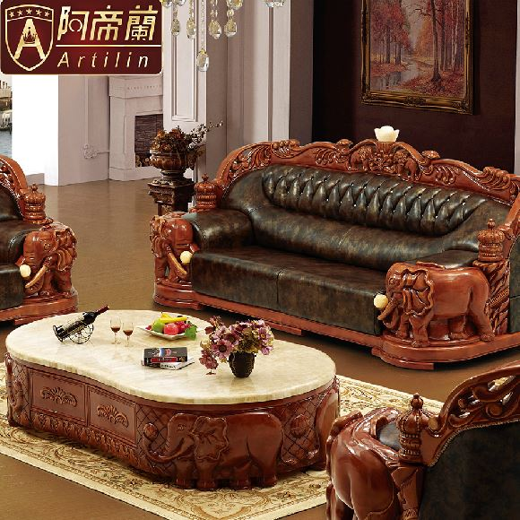 Artilin luxury lucky elephant leather sofa set living room
