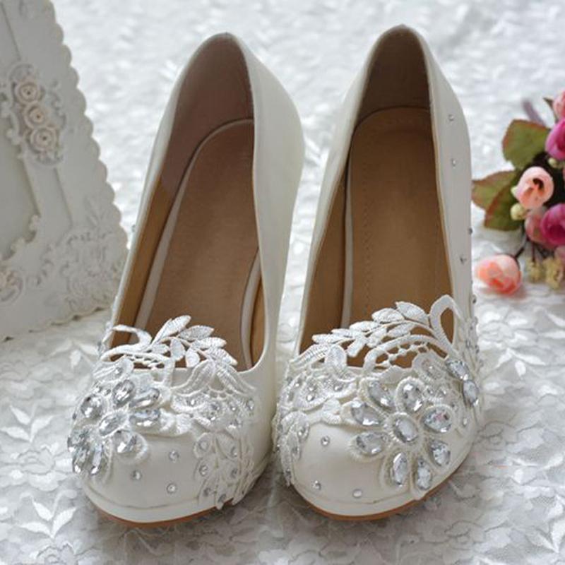 2015 custom made white lace rhinestone bridal shoes 3 inch