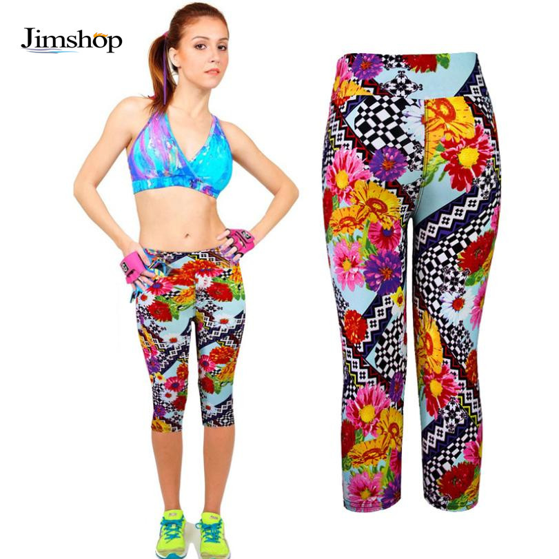 2016 Europe Fashion Women's Leggings 3D Floral Pattern Printed High Waist Casual Stretch Cropped Mid-Calf Pants Plus Size - Jimshop Store store
