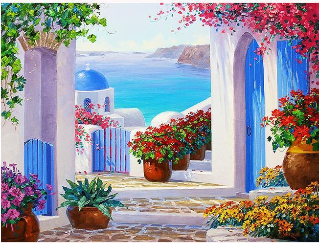 High quality HD Mediterranean garden painting wallpaper 3D mural papel