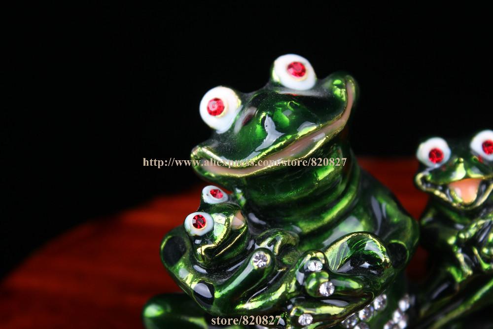 "Frog Family Jewelled Trinket Box Frog Enamel Box Crystal Studded Jewelry Box FROG "" Enamel Keepsake Trinket Box Collectible Frog"