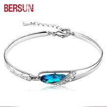 Bersun 2016 New Fashion 925 Sterling Silver Bracelet Women Elegant Sapphire Crystal Bracelets Fine Jewelry Wholesale(China (Mainland))