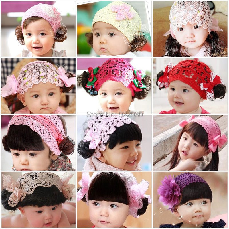 Baby Girls Kids Headband wig curly Flower Bow Lace Ribbon Headwear Hair Band with wig fringe hair free shipping(China (Mainland))
