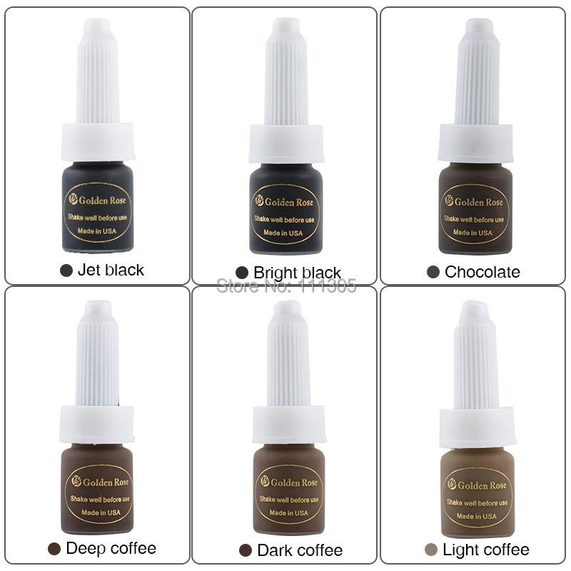 Hot Sale Cheap 6pcs/Lot Golden Rose 10ML permanent makeup tattoo ink Pigment Eyebrow Lip Pigment Supply kit High Quality<br><br>Aliexpress