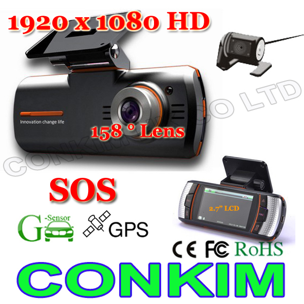 "In Stock! CarCam Dual Lens Car Camera DVR /2.7"" LCD+GPS/G-Sensor+158degree Wide+ External Rear View Camera 1920x1080 20FPS H.264"