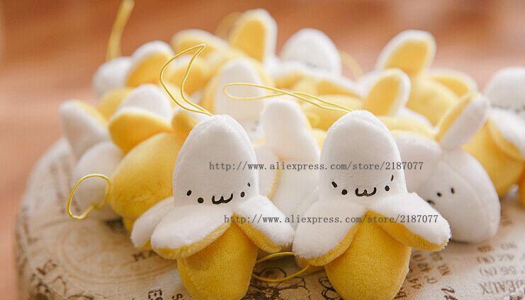Cheap 1Piece 6CM Yellow Banana Stuffed Toy , Plush Gift Toy - String plush Key Chain Toy , Wedding Gift Bouquet Plush Toy(China (Mainland))