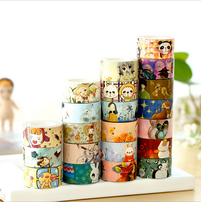 Japanese cartoon DIY decoration tape 2cm wide white kraft paper tape diary Shredded tape Scrapbooking Sticker Label Masking Tape<br><br>Aliexpress