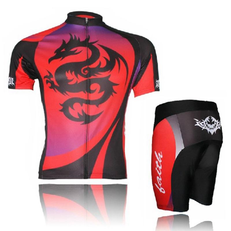XINTOWN mtb Men Bike Jerseys Shorts Sets Red Dragon Bike Clothing Suits ropa ciclismo Bicycle Top Pro Cycling Wear Shirts
