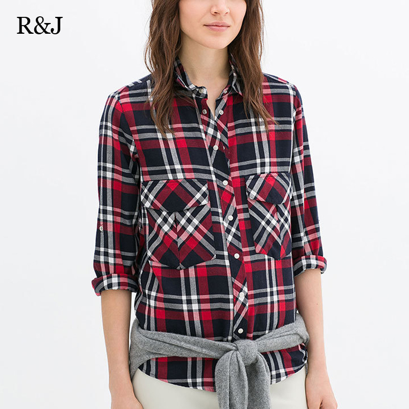 2015 women summer spring clothing casual plaid shirt long Womens red plaid shirts blouses