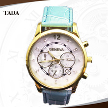 free shipping men and women fashion with great dials quartz movement stainless steel back leather geneva watch cheap price(China (Mainland))