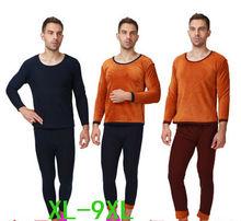 2016 autumn winter men extra large warm thicken thermal pure cotton long johns male velvet underwear sets xl-5xl 6xl 7xl 8xl 9xl(China (Mainland))