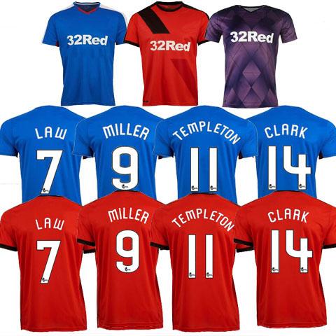 Glasgow Rangers jersey 2016 Home Blue Away Red MILLER Football Jerseys BOYD LAW CLARK Jersey 15 16 Glasgow Rangers Shirt Custom(China (Mainland))