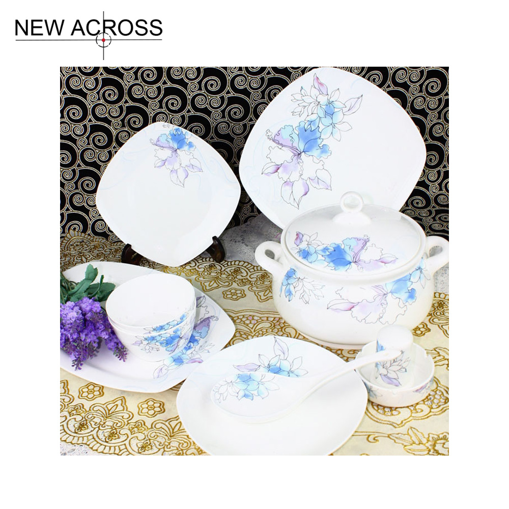 Gohide Luxury arts tableware ceramic avowedly 56pcs/set quality china dinner set square full dinnerare set in(China (Mainland))