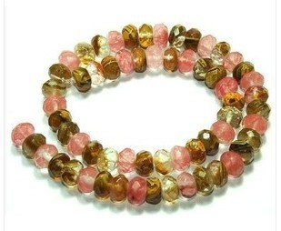 6 8 10mmFaceted Watermelon Tourmaline Gem loose Bead 15""