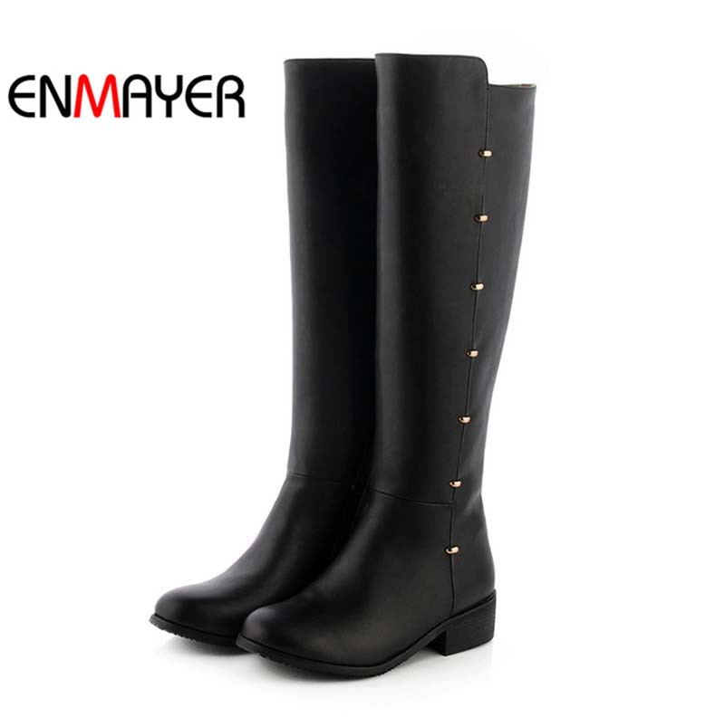 enmayer motorcycle boots toe med pu knee high boots