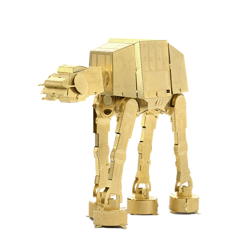 JWLELE@Star Wars Chinese toy Metal Model 3D Etching Puzzle 6 Inch 2 Sheets brass AT-AT golden Creative gift(China (Mainland))