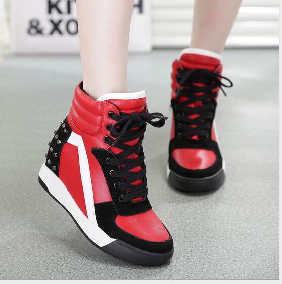 2015 Somber-toned platform shoes womens casual shoes rivets increased thick bottom intradermal wedges for womens shoes<br>