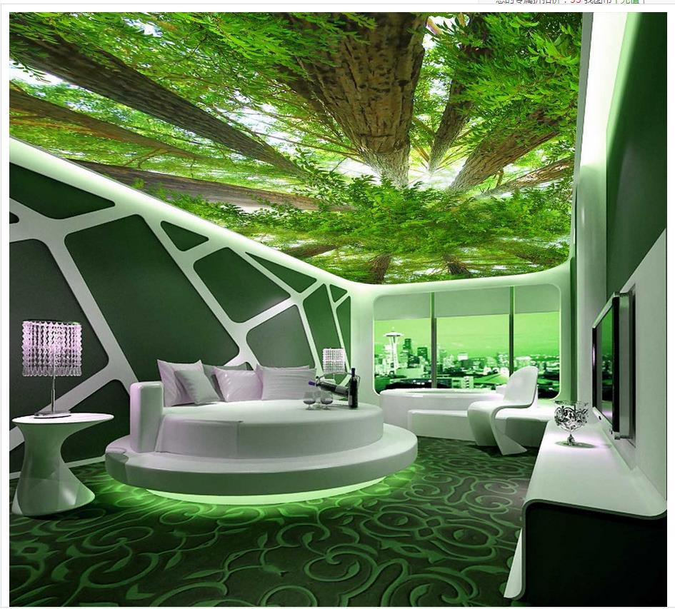 Custom 3d photo wall paper forest sky ceiling 3d wallpaper for 3d wallpaper home decoration