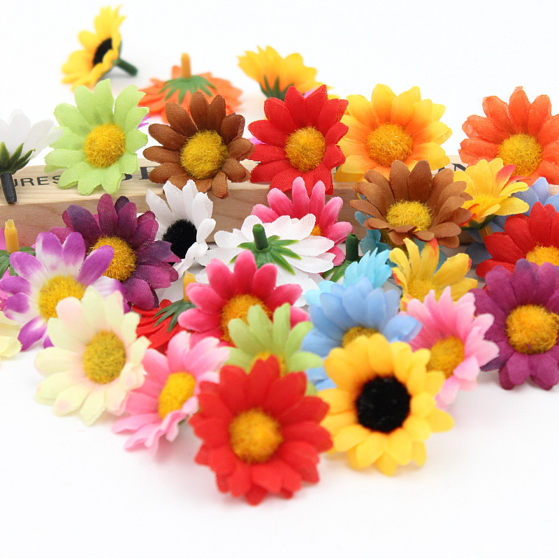50pcs/lot Silk Flower Daisies Flower Heads decor home garden Color optional high quality(China (Mainland))