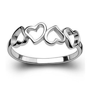 MSF brand love heart 925 sterling silver & platinum plated female rings wedding engagement ring - Life in Color Co.,Ltd store