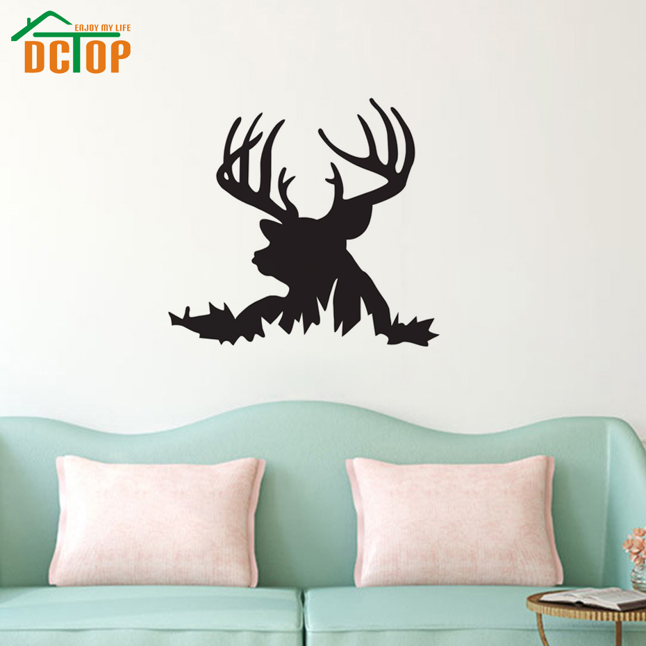 Dctop deer head silhouette wall art decals removable vinyl for Silhouette wall art