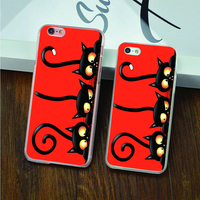 black cat halloween hard transparent Case for iPhone 4 4s 5 5s 5c 6 6s 6 Plus 6s Plus phone cover shell