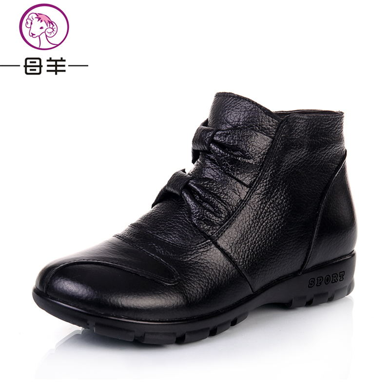 Winter Boots Genuine Leather Flat Snow Boots 2015 New Comfortable Warm Shoes Woman Ankle Boots Women Boots <br><br>Aliexpress