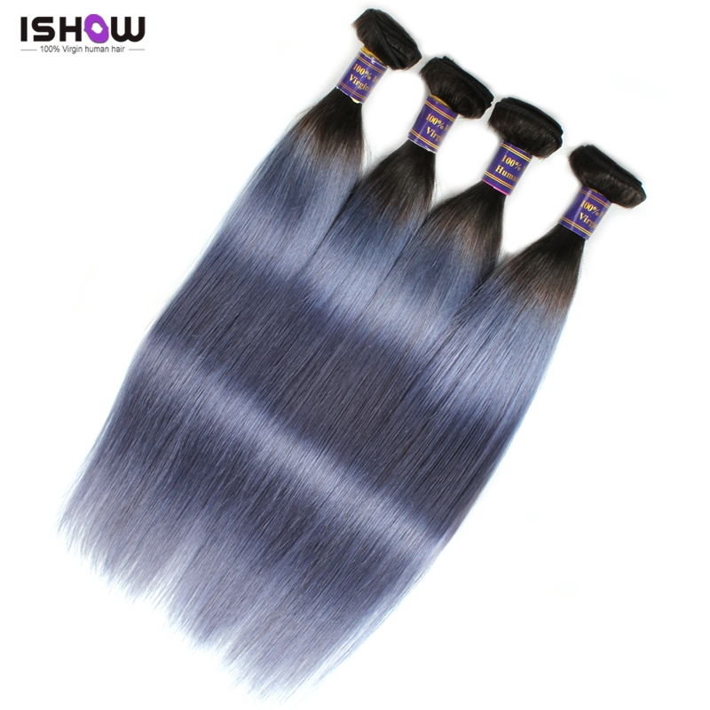 Silver Grey Hair Extensions  Brazilian Virgin Hair Straight 10A Grade Unprocessed Human Hair Weave Dark Roots Grey Human Hair<br><br>Aliexpress