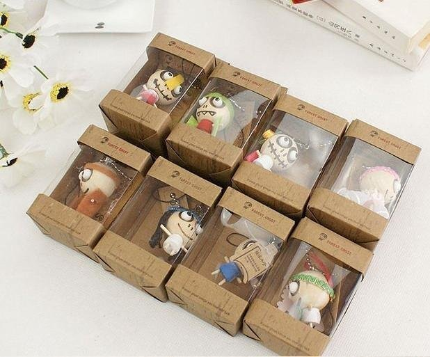 Wholesale lots Cute Wooden & Wacky Voodoo Doll Toy / Forest Ghost Toy Cell Phone Charm (SC-17)
