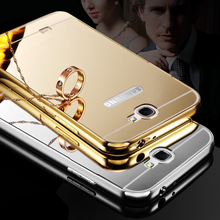 Edge Gold Plated Metal Aluminum + Acrylic Mirror Back Bumper For Samsung GALAXY Note2 Note II 2 N7100 Hybrid Cover Cases(China (Mainland))