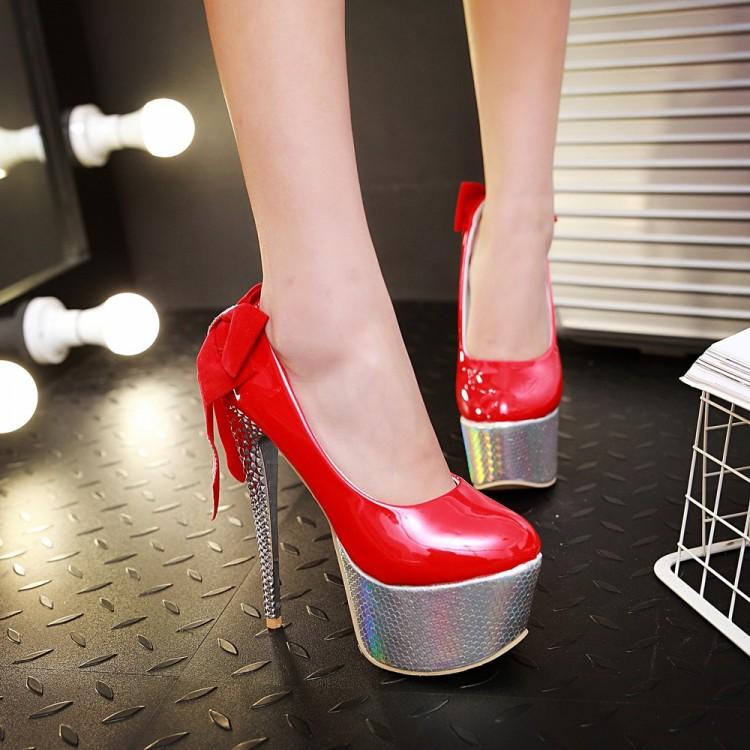 Wedding Shoes 2016 Women 16cm Ultra High Heels Platform Wedding Pumps Lady Sexy Rhinestone Bowknot Thin Heels Pumps T-05