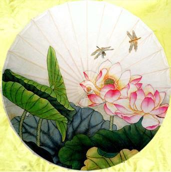 Dia 50cm Free shipping Lotus and dragonfly oiled paper umbrella handmade waterproof and sunshade props non-automatic umbrella(China (Mainland))