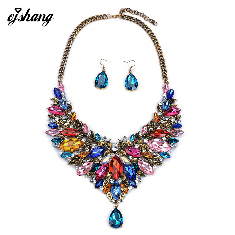 Jewelry Set Women Crystal Necklace Earring Choker Ethiopian Jewellery Bijoux Rhinestone Wedding African Gem Fashion Accesory 766(China (Mainland))