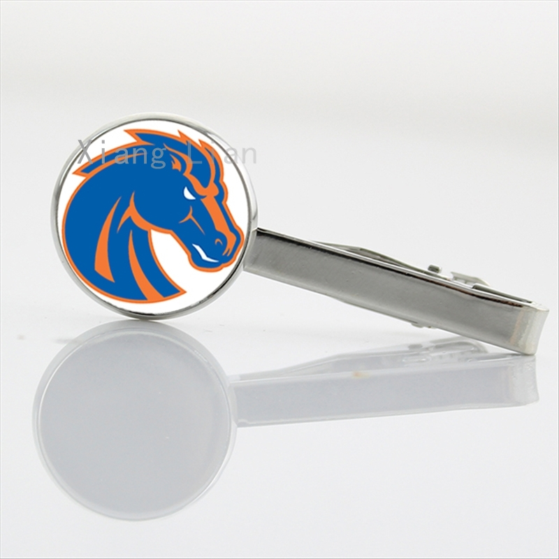 Trendy rugby tie clips case for Denver Broncos team Newest mix 32 NFL team american football sports tie clamp pins bar NF003(China (Mainland))