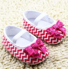 baby shoes, Stripes red bow baby girl shoes, classic and comfortable non-slip shoes baby steps sapato bebe Us size 1 2 3