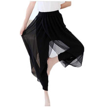 2015 Women Casual Black Pants Ladies Summer Style Cotton Chiffon Ruffles Dance Pants Female Big Size Elastic Skinny Pants(China (Mainland))