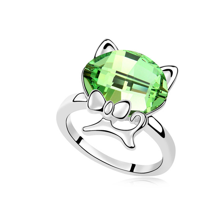 T100012 AAA Grade Crystal ring - gentleman cat ( olive ) over $15 mixed order free shipping(China (Mainland))
