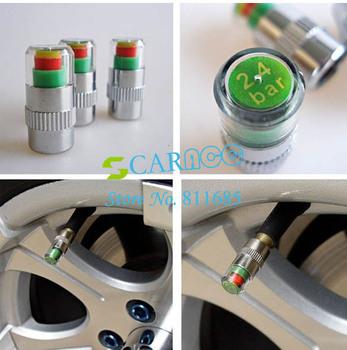 High quality 4pcs/set Tire valve stem cap Car Auto Pressure Monitor Valve Stem Caps Indicator 2.4 Free Shipping 35