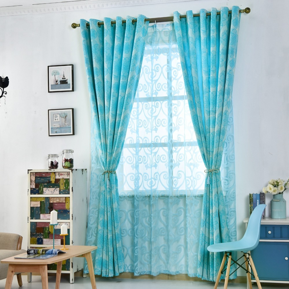 Floral curtains for living room